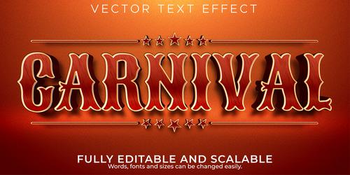 Carnival 3d editable text style effect vector