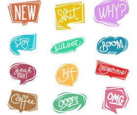 Cartoon chat bubble sticker vector