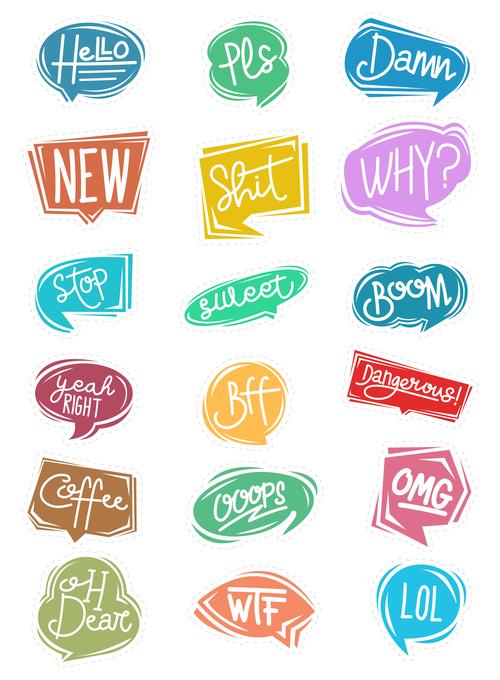 Cartoon chat bubble sticker vector