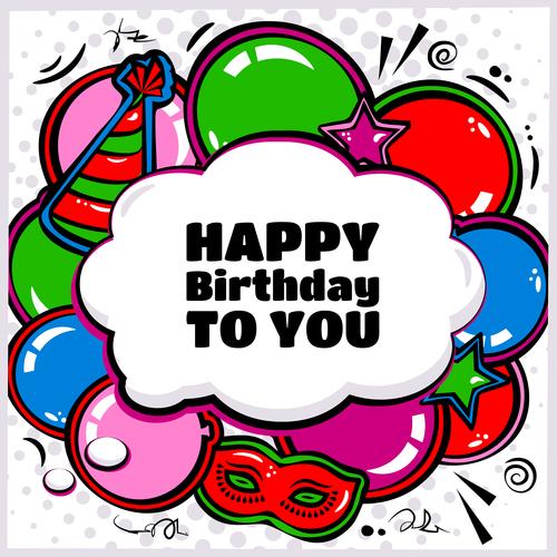 Cartoon illustration birthday card background vector