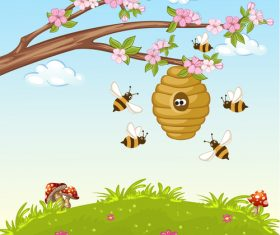Cartoon picking nectar illustration vector