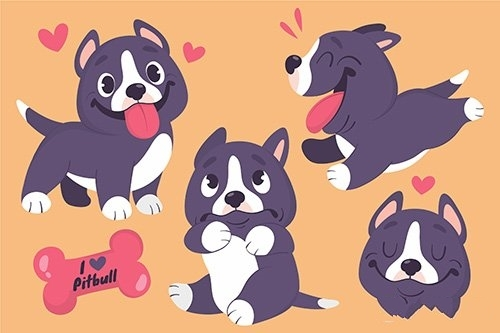 Cartoon pitbull illustration vector