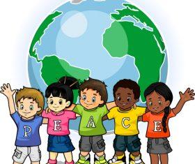 Children united world of peace vector