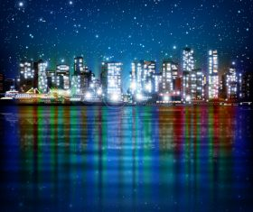 City night lighting vector