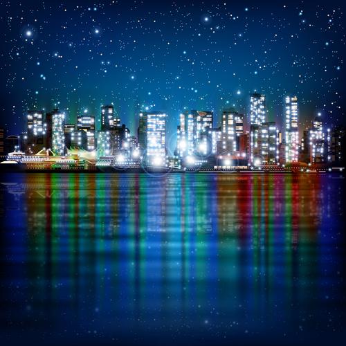 City night lighting vector
