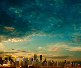 Clouds background with panorama of city vector