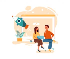 Co-planning cartoon illustration vector