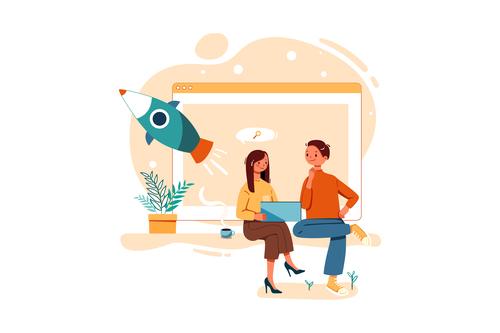 Co planning cartoon illustration vector