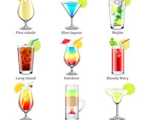 Cocktails icons realistic vector
