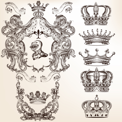 Collection of filigree high detailed shields and crowns for design vector