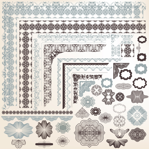 Collection of vector certificates filigree design elements