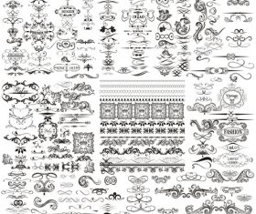Collection or mega set of vector calligraphic elements and page decorations