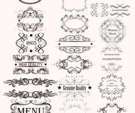 Collection or set of vector calligraphic frames for design vector