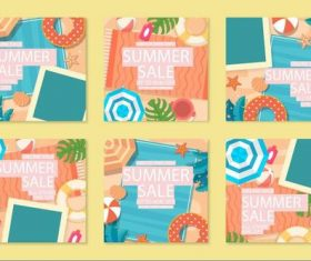 Collection summer sale instagram posts vector