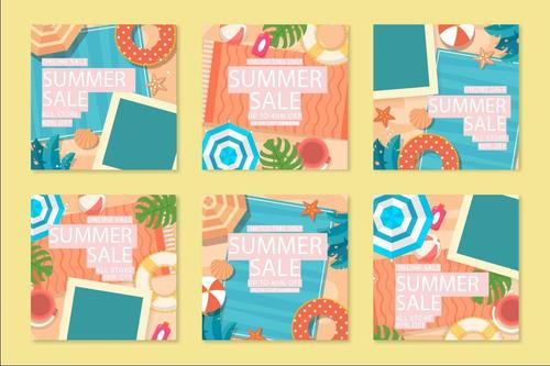 Collection summer sale instagram posts vector