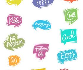 Colorful cartoon chat bubble sticker vector