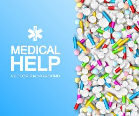Colorful drugs medical care poster vector