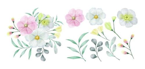 Colorful flowers and leaves watercolors vector