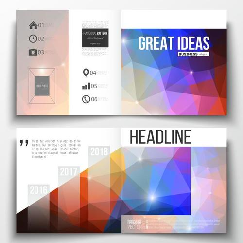 Colorful geometric background business brochure template vector