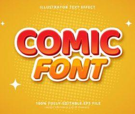 Comic font 3d font editable text style effect vector