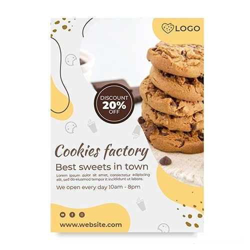 Cookies factory poster with discount vector