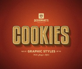 Cookies graphic styles text styles vector