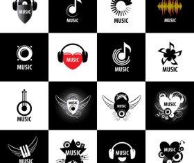 Creative music art icon collection vector