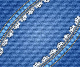 Curved lace denim texture vector