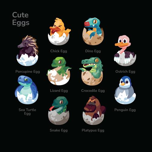 Cute Eggs Illustration Sets vector