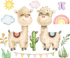Cute alpaca background vector