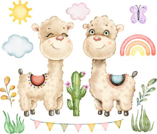 Cute alpaca background vector