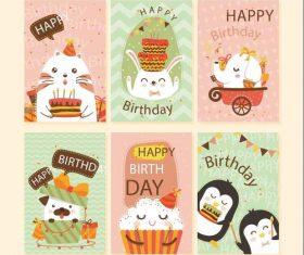 Cute animal cover birthday card vector