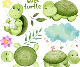 Cute turtle cartoon illustration vector