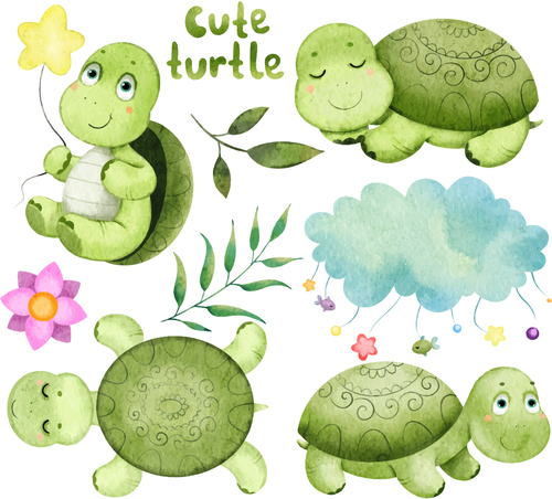 Cute turtle cartoon illustration vector