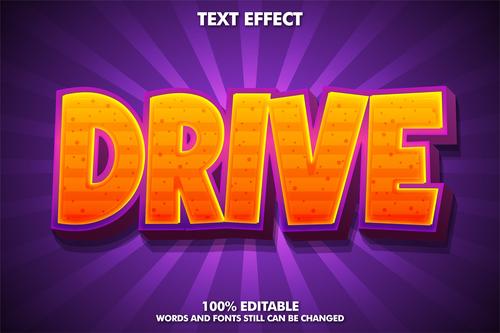 DRIVE 3d editable text style effect vector