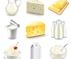 Dairy products icons realistic vector