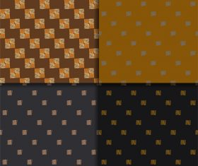 Dark and beige ethnic style seamless patterns vector