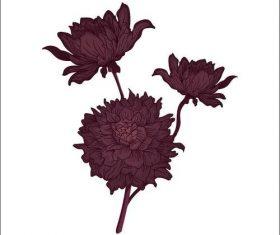 Dark flower watercolor painting vector