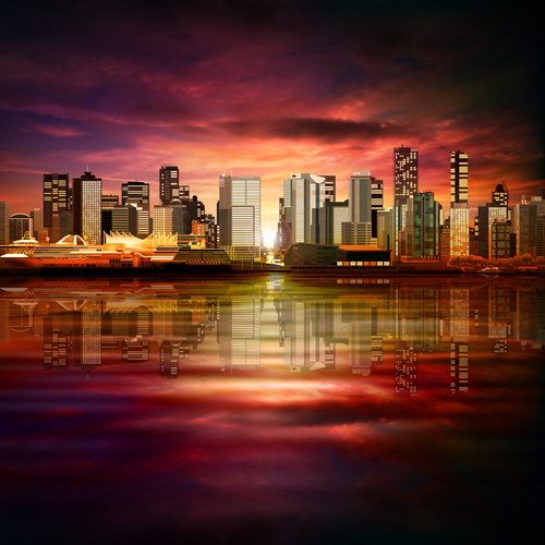 Dark red sky with city background vector