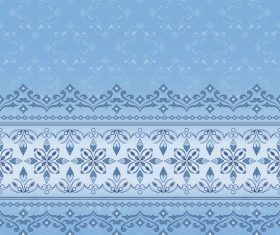 Decorative seamless border on light blue background vector