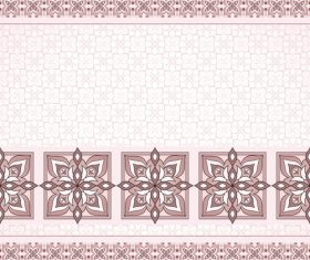 Decorative seamless pink brovn border on white background vector