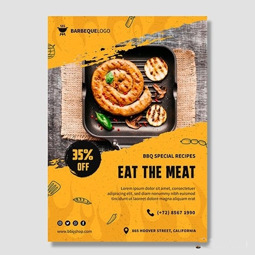 Delicious barbeque poster template vector