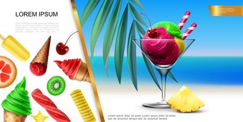 Delicious cold drink flyer vector