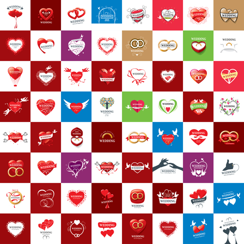 Design different style wedding icons vector