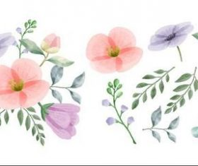 Different colored flowers and leaves watercolors vector