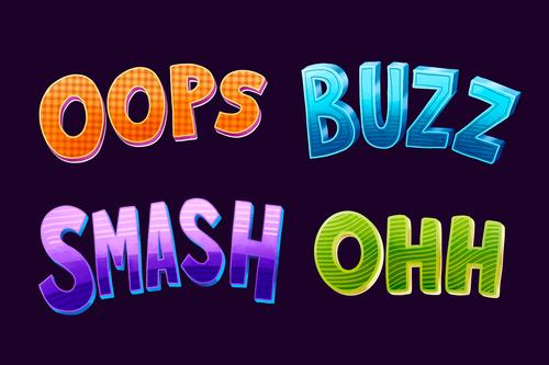 Different colors catchwords lettering vector