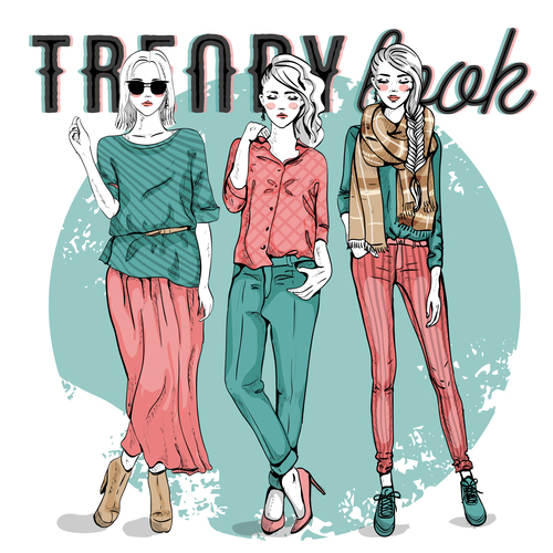 Different fashion style illustration vector