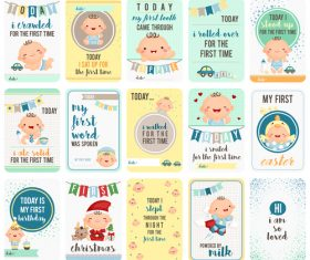 Different growth stages baby cards vector