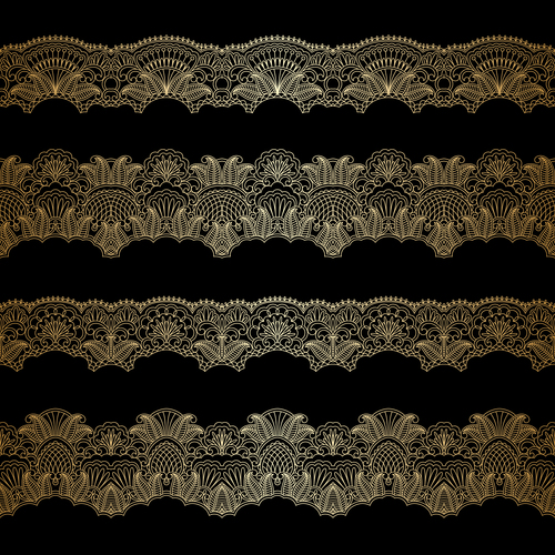 Different shapes lace decorative pattern vector