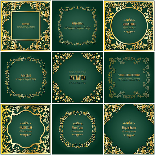 Different style Invitation cards with gold decor vector